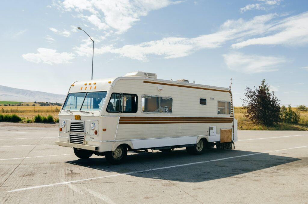 rv redesign - rv parked in outdoor parking at Texas rv storage facility
